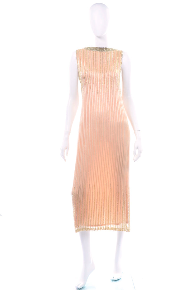 Vintage Claire Dratch boutique Beaded Peach silk dress with Gold lame