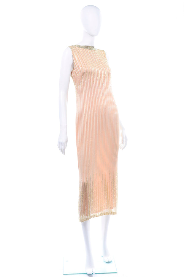 Vintage Claire Dratch boutique Beaded Peach silk dress with Gold lame Evening Gown