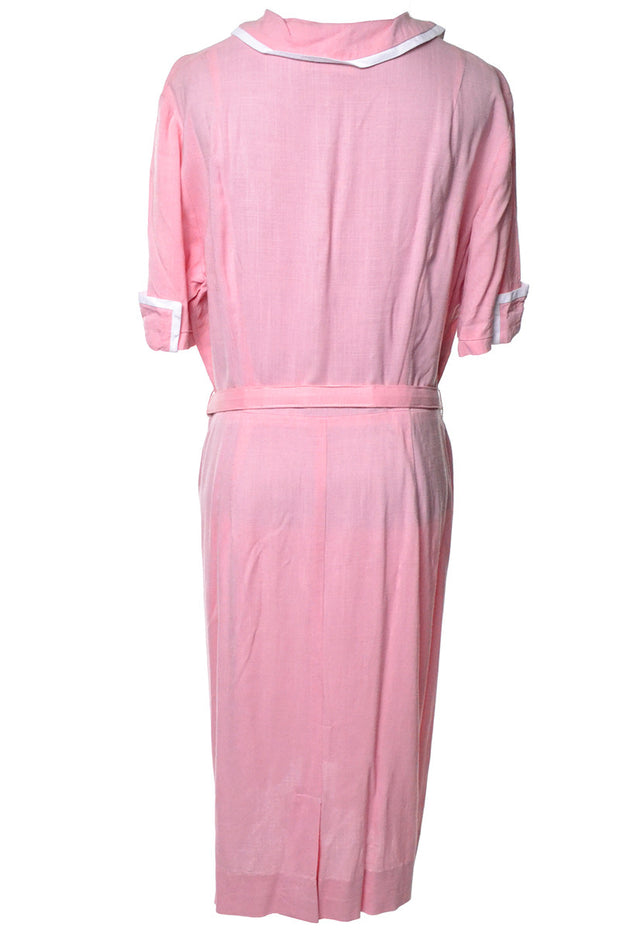 Pink and White 1940's Belted House or Day Dress XL - Dressing Vintage