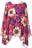 Vintage Silk Floral Poncho style top Made in Italy - Dressing Vintage