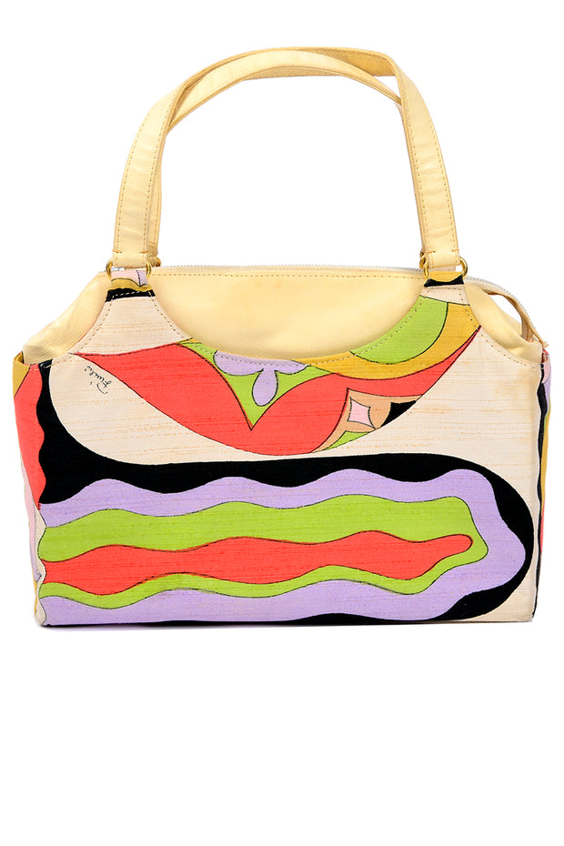 1960s Emilio Pucci by Jana Print Raw Silk & Leather Top Handle Handbag