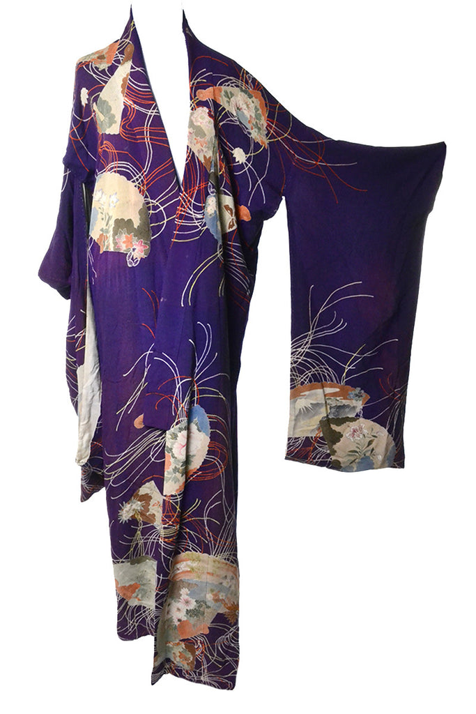 Purple Silk Vintage Kimono Older Asian Textile Estate