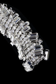 Unique Shapes Vintage Prong Set Rhinestone Emerald Cut Bracelet - Dressing Vintage