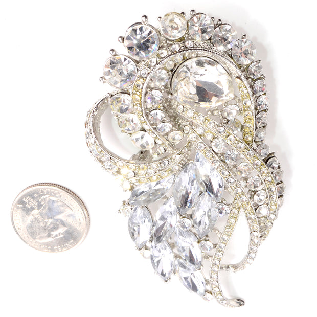 Big Vintage Rhinestone Statement Brooch