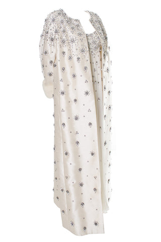 Ivory Silk Chiffon Beaded Dress and Coat