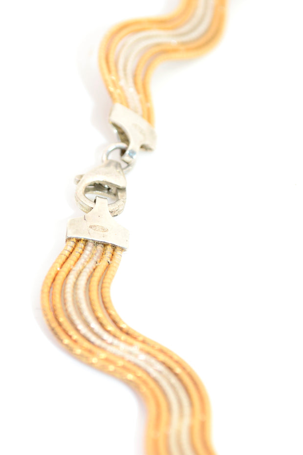 Wavy Gold & Sterling Silver Mixed Metal Necklace