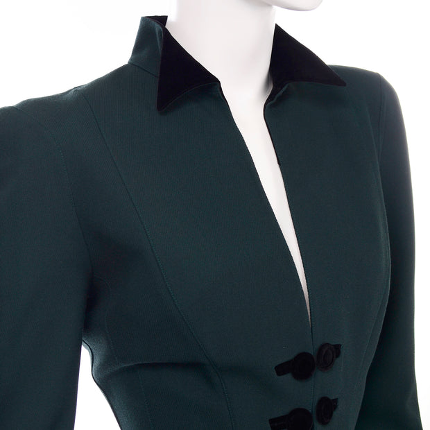 Vintage Thierry Mugler Forest Green Wool and Velvet Skirt w Blazer Jacket Suit
