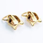 Kenneth J Lane vintage panther lion gold earrings marked Kenneth Lane