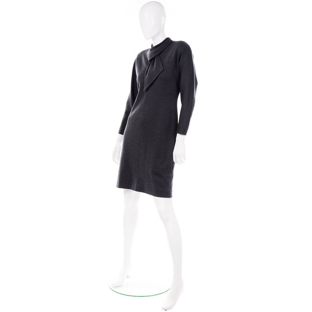 William Travilla vintage charcoal gray dress