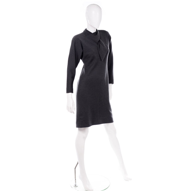 William Travilla vintage charcoal gray dress 1970s