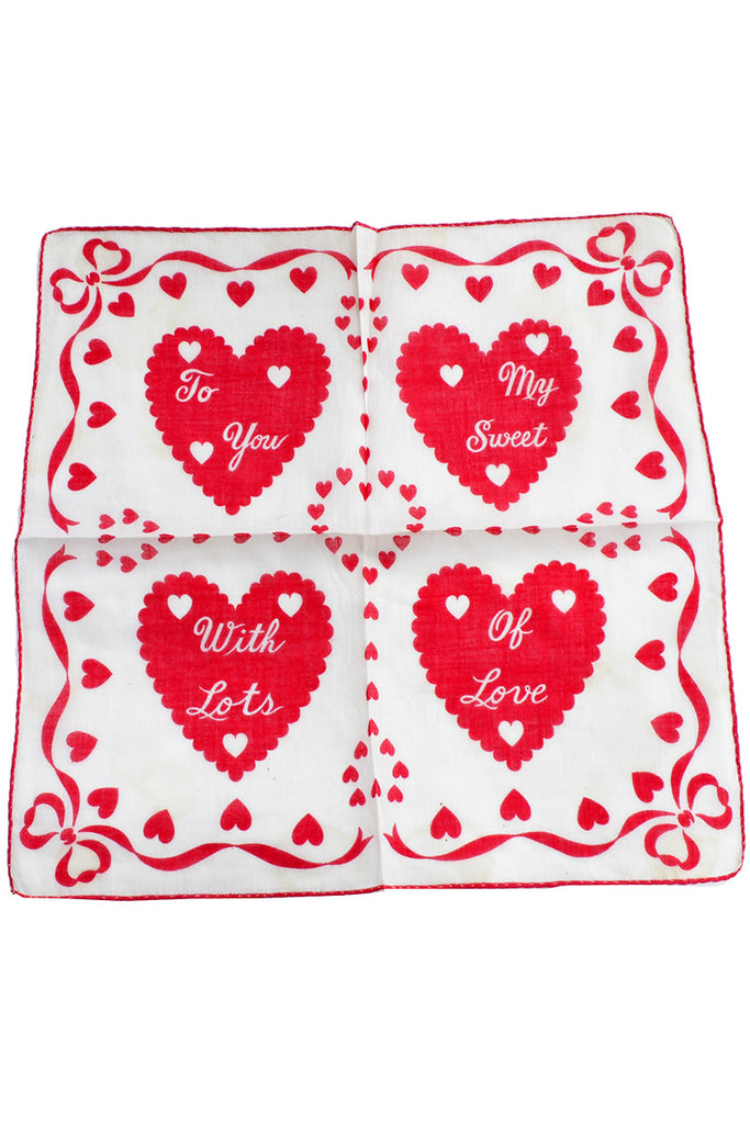 Collectible Vintage Valentines Day Handkerchief Red Hearts - Dressing Vintage