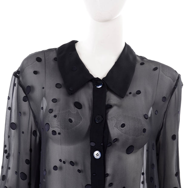 Valentino Sheer Silk Midnight Blue Blouse or Shirt Dress w Dot Applique Buttons