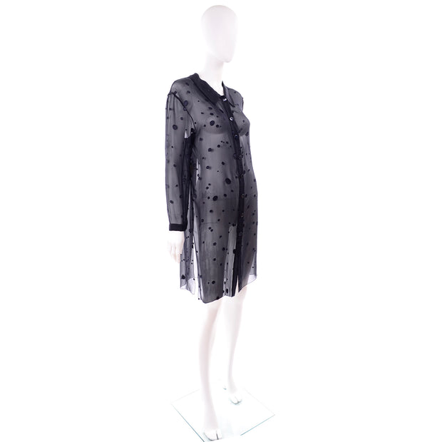 Valentino Sheer Silk Midnight Blue Blouse or Shirt Dress w Dot Applique as new