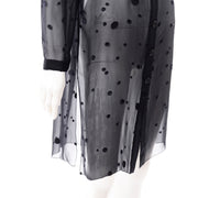Valentino Sheer Silk Midnight Blue Blouse or Shirt Dress w Dot Applique