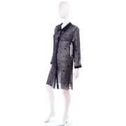 Valentino Sheer Silk Midnight Blue Designer Blouse or Shirt Dress w Dot Applique