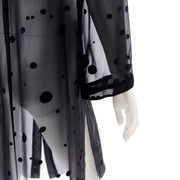 Valentino Sheer Silk Midnight Blue Blouse or Shirt Dress w Dot Applique slits