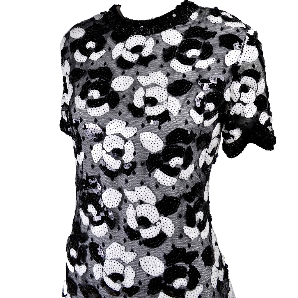 Victor Costa Black and White Sequin Vintage Dress