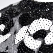Sequins Dress Victor Costa Black and White