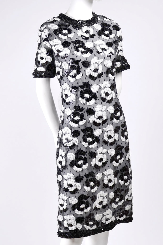 Vintage Dress by Victor Costa in Black and White Sequins