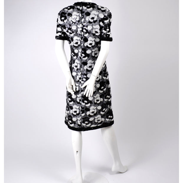 Vintage Victor Costa Dress in Black and White Sequins