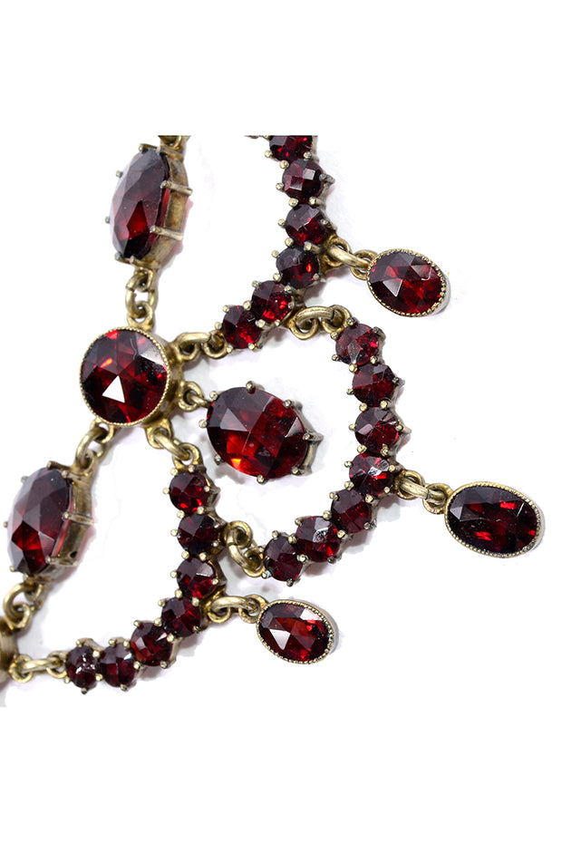 Georgian Vintage Red Garnet Festoon necklace Gold
