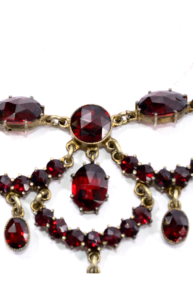 Vintage Victorian Garnet Festoon necklace 1800s
