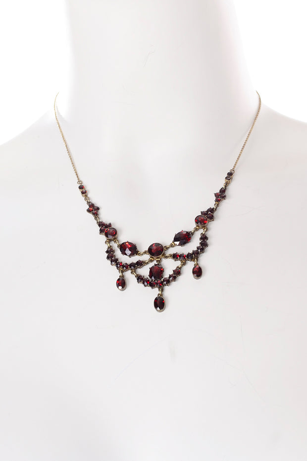 Vintage Victorian Red Garnet Gold Festoon necklace