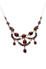 Vintage Victorian  Georgian Garnet Red Gold Festoon necklace