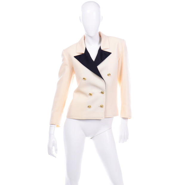 Ivory Black Yves Saint Laurent Vintage Blazer Jacket