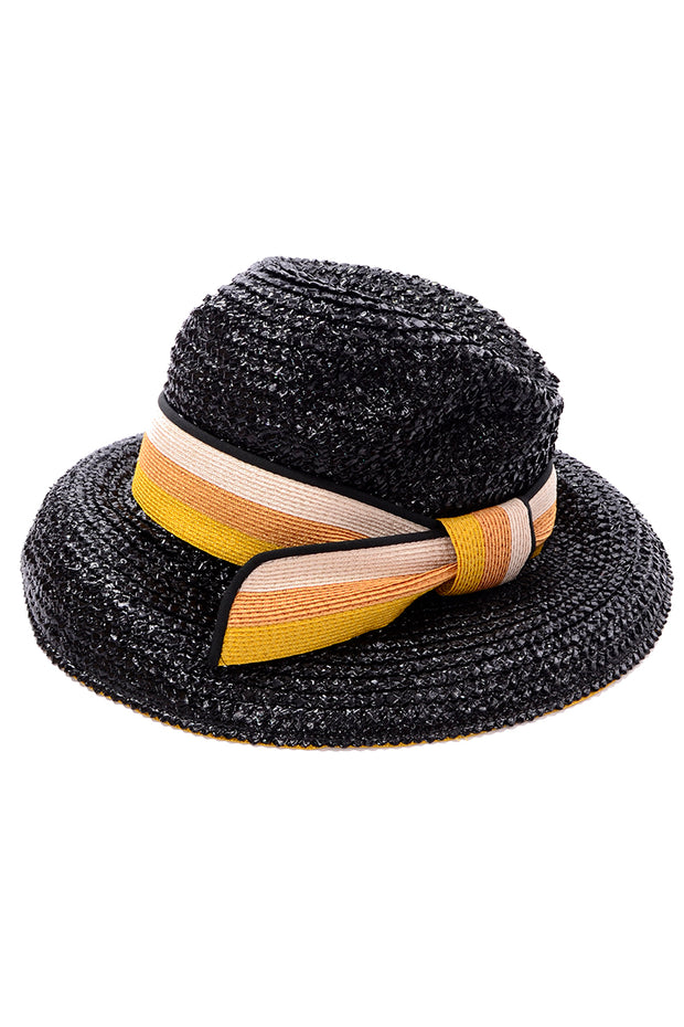 1960s Yves Saint Laurent Black Straw Hat w Striped Ribbon Deadstock