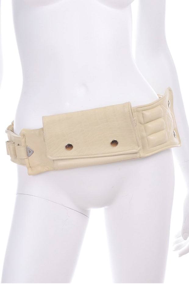 Cream leather vintage fanny pack