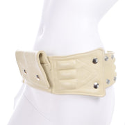 Vintage cream leather belt bag