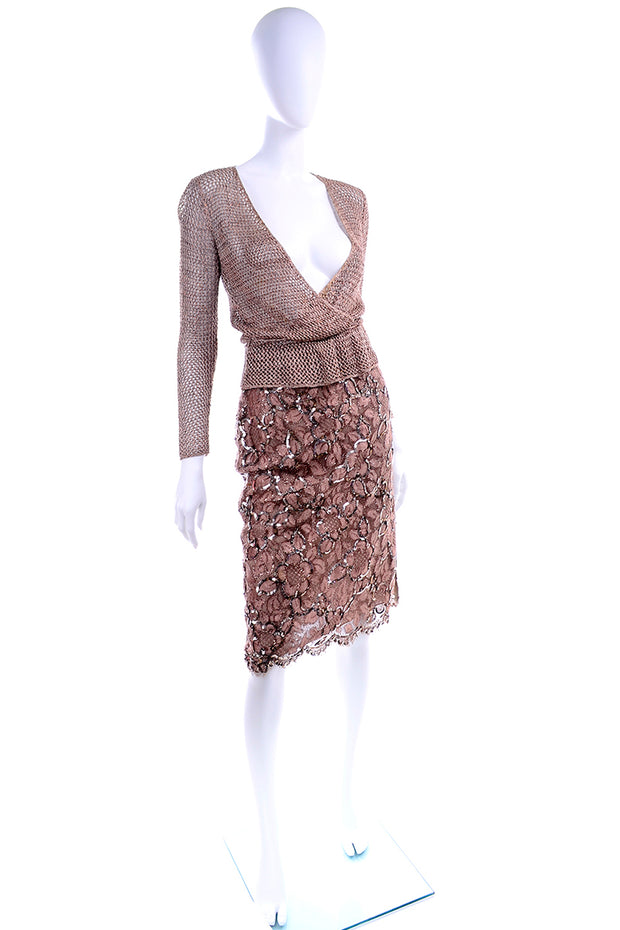 Vintage Copper Lace Sequin Skirt & Low Crochet Knit Top