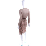 Vintage Copper Lace Sequin Skirt & Crochet Knit Top Outfit