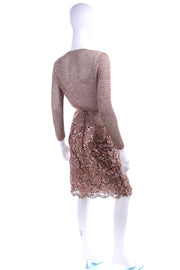 2 pc Vintage Copper Lace Sequin Skirt & Crochet Knit Top