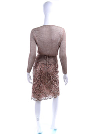 2 Piece Vintage Copper Lace Sequin Skirt & Crochet Knit Top