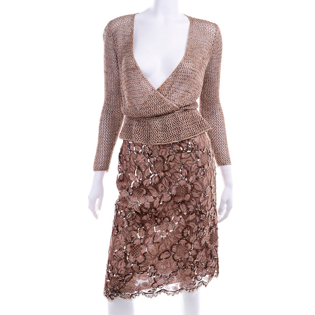 Vintage Copper Lace Sequin Skirt & Crochet Knit Top W Tie