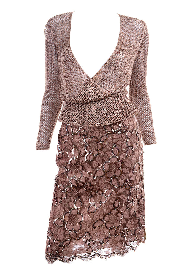 Vintage Copper Lace Sequin Skirt & Crochet Knit Top