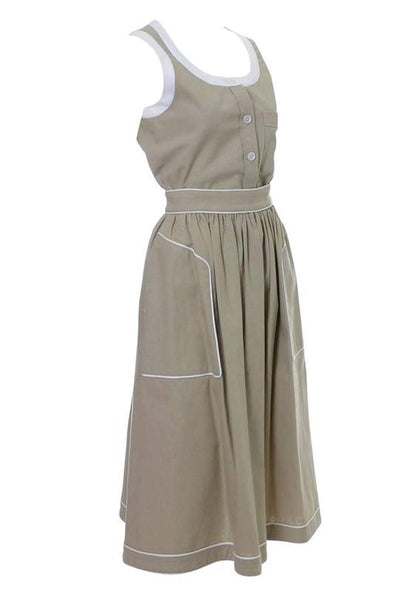 Vintage Valentino tan linen dress