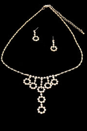 1970's Dangling Circle Rhinestone Earrings and Necklace