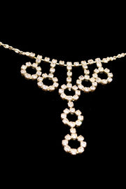 "1970s Rhinestone Circle ""Y"" Dangle Necklace w/ Matching Earrings"