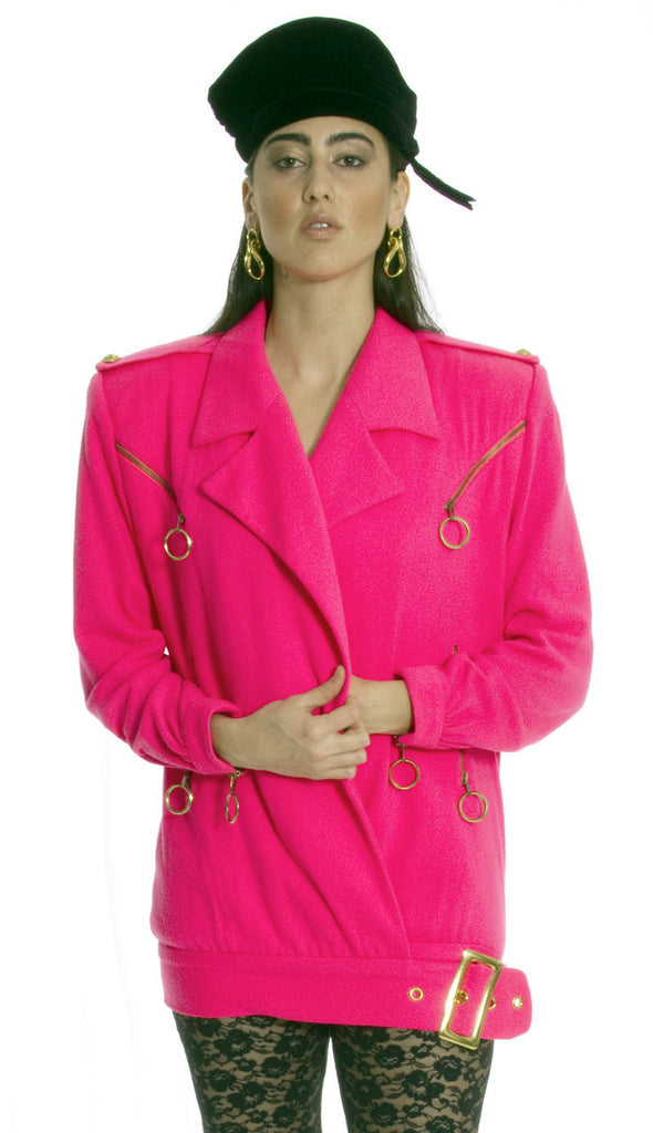 1980s vintage hot pink jacket cashmere blend