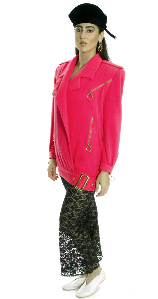 hot pink vintage 80's jacket lace pants
