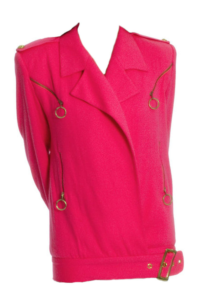 1980's Hot Pink Jonathan Vintage Cashmere Blend Jacket Estate Collection