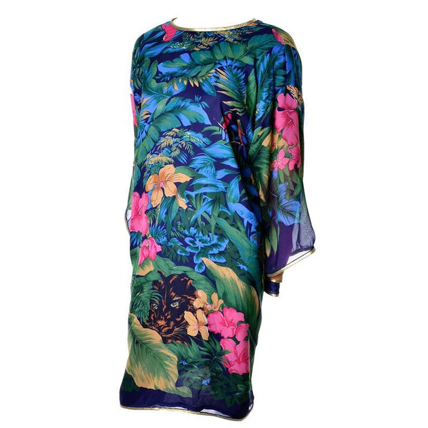 Vintage Floral Silk Jungle Caftan Dress Layered Sleeves Jeweled Tassels