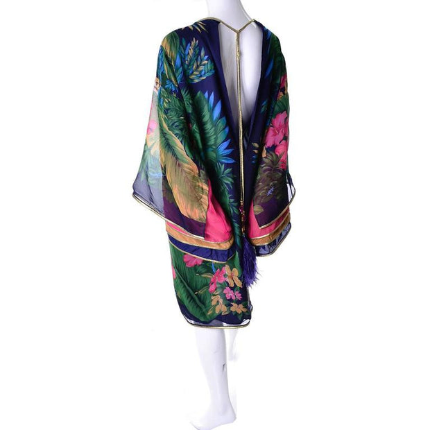 Pink, Purple, Blue Silk Jungle Caftan Gold Trim