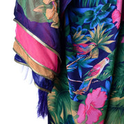 Floral Silk Jungle Caftan Dress Jeweled Tassels Vintage