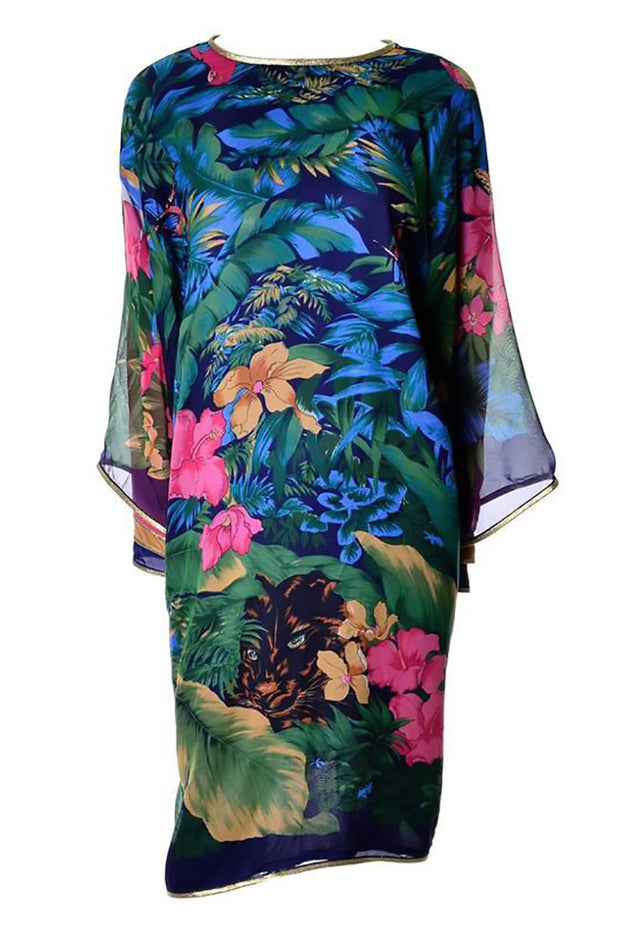 Vintage Jungle Caftan with Layered Sleeves