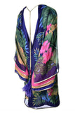 Vintage Floral Silk Jungle Caftan Dress Gold Trim Layered Sleeves Jeweled Tassels 6/8