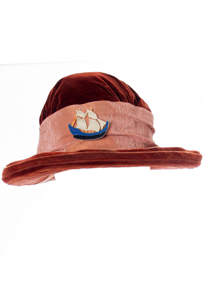 Copper velvet Edwardian Hat with Ship